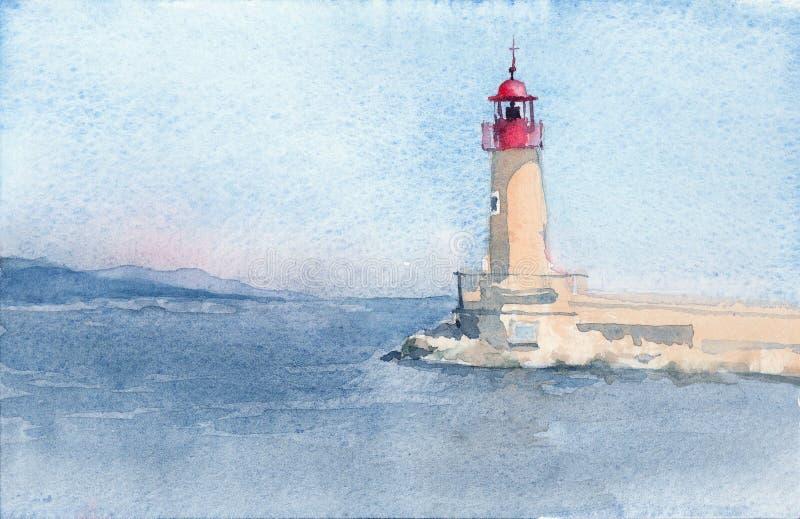 Croquis tiré par la main d'aquarelle de phare de Saint Tropez illustration de vecteur