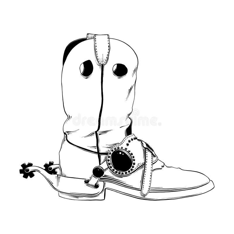 Croquis tiré par la main de la botte de cowboy occidentale dans le noir d'isolement sur le fond blanc Dessin détaillé de style gr illustration stock