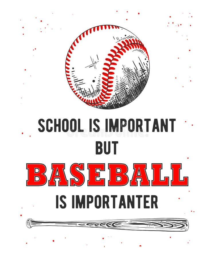 Croquis tiré par la main de boule et de batte de base-ball avec la typographie drôle sur le fond blanc Dessin détaillé de style g illustration stock