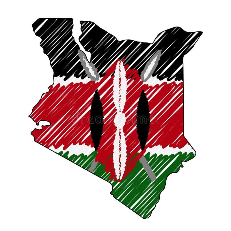 Croquis tir? par la main de carte du Kenya Drapeau d'illustration de concept de vecteur, le dessin des enfants, carte de griffonn illustration libre de droits