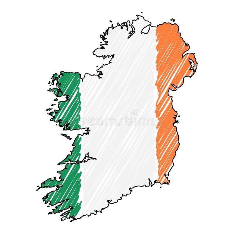 Croquis tir? par la main de carte de l'Irlande Drapeau d'illustration de concept de vecteur, le dessin des enfants, carte de grif illustration stock