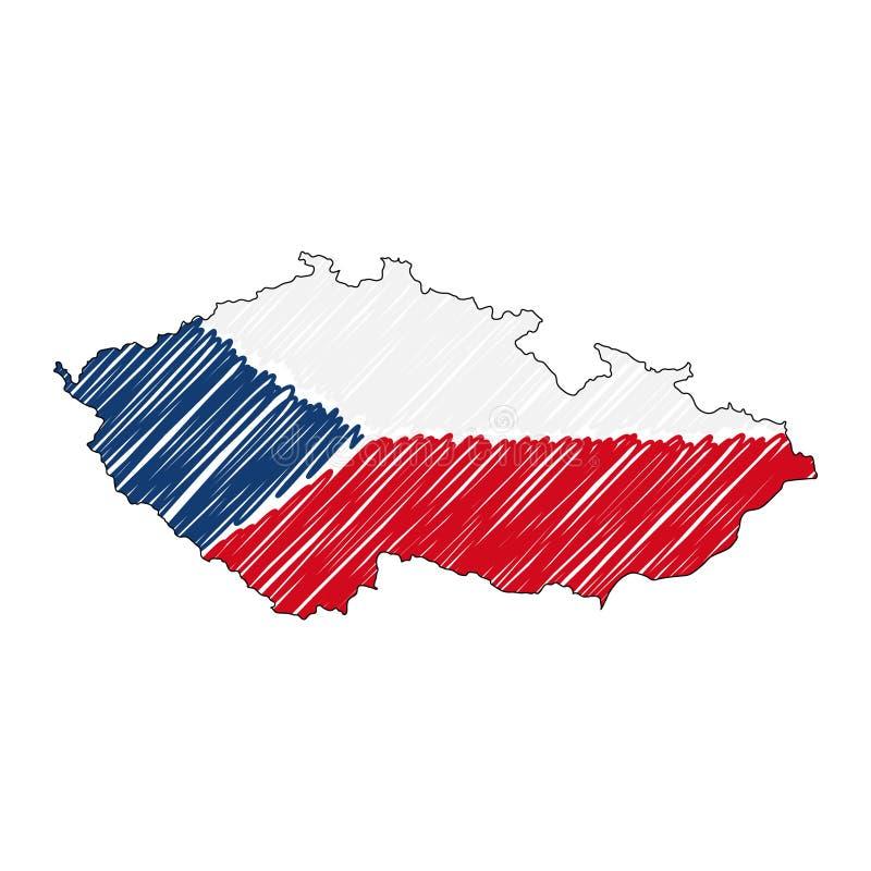 Croquis tiré par la main de carte de République Tchèque Drapeau d'illustration de concept de vecteur, le dessin des enfants, cart illustration de vecteur