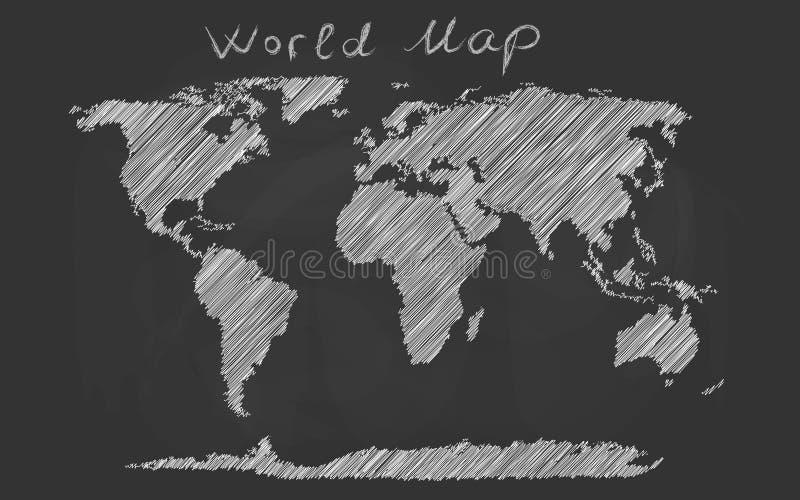 Croquis tiré par la main de craie de carte du monde sur un tableau noir illustration de vecteur
