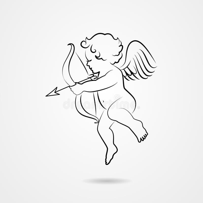 Croquis tiré par la main de cupidon illustration stock