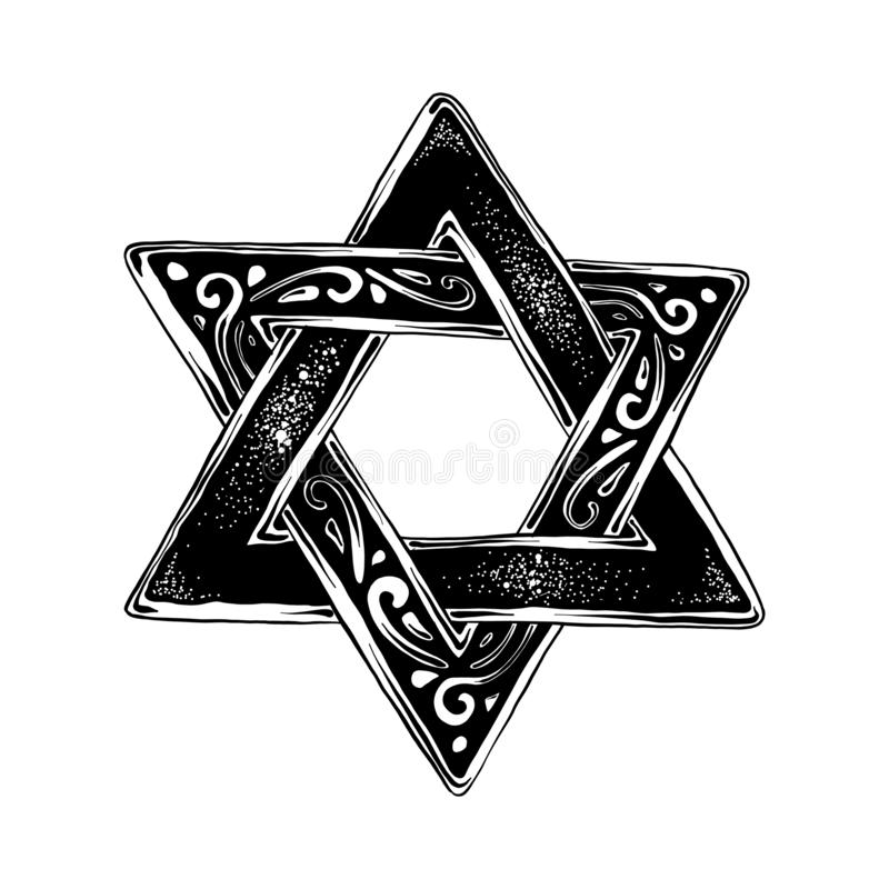 Croquis tiré par la main de l'étoile de David juif dans le noir d'isolement sur le fond blanc Dessin détaillé de style gravure à  illustration stock
