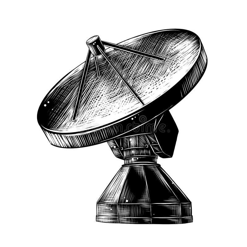 Croquis tiré par la main de l'antenne de satellite dans le monochrome d'isolement sur le fond blanc Dessin détaillé de style de g illustration libre de droits