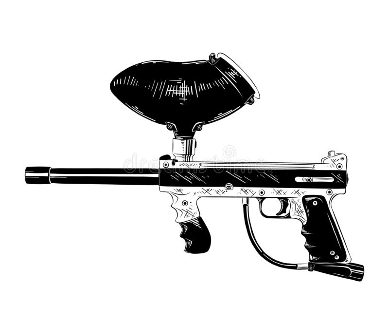 Croquis tiré par la main de l'arme à feu de paintball dans noir d'isolement sur le fond blanc Dessin détaillé de style gravure à  illustration de vecteur
