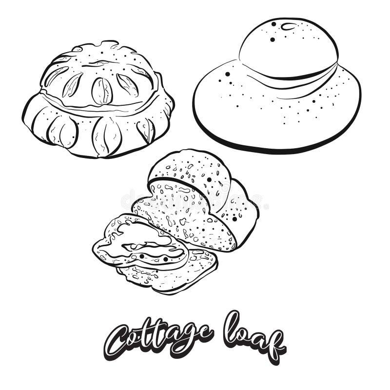 Croquis tiré par la main de pain de pain de cottage illustration de vecteur