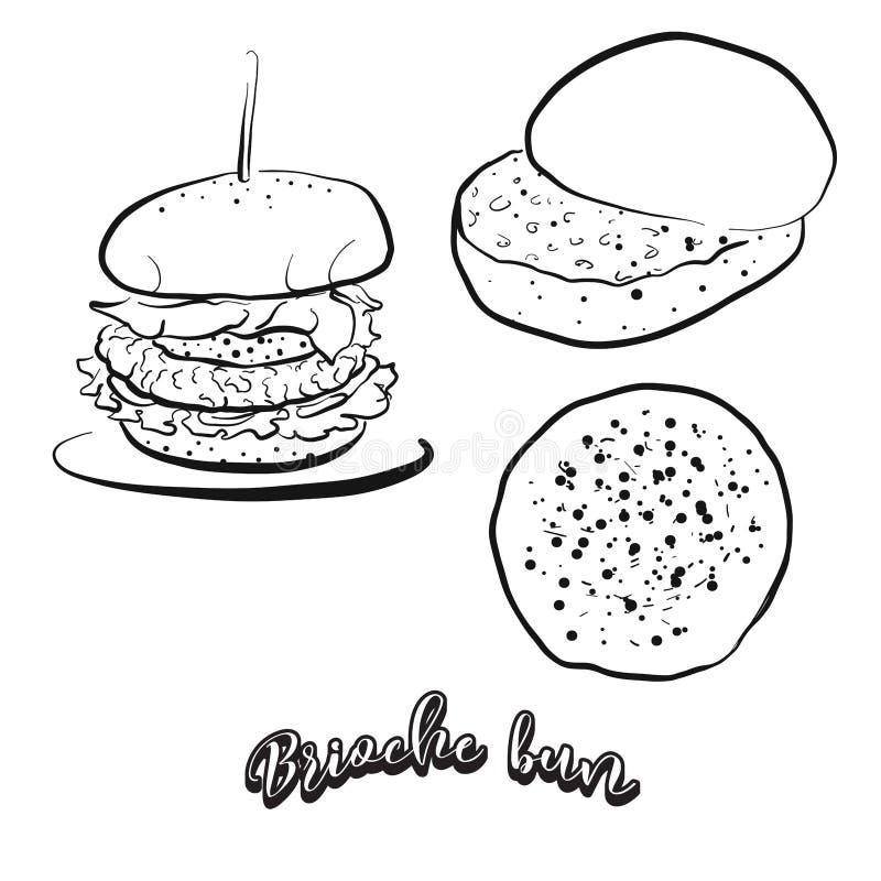 Croquis tiré par la main de pain de petit pain de brioche illustration stock