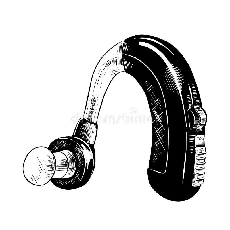 Croquis tiré par la main de la prothèse auditive dans le noir d'isolement sur le fond blanc Dessin détaillé de style gravure à l' illustration stock