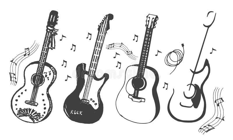 Croquis tiré par la main de vecteur d'illustration de guitare sur le fond blanc illustration stock