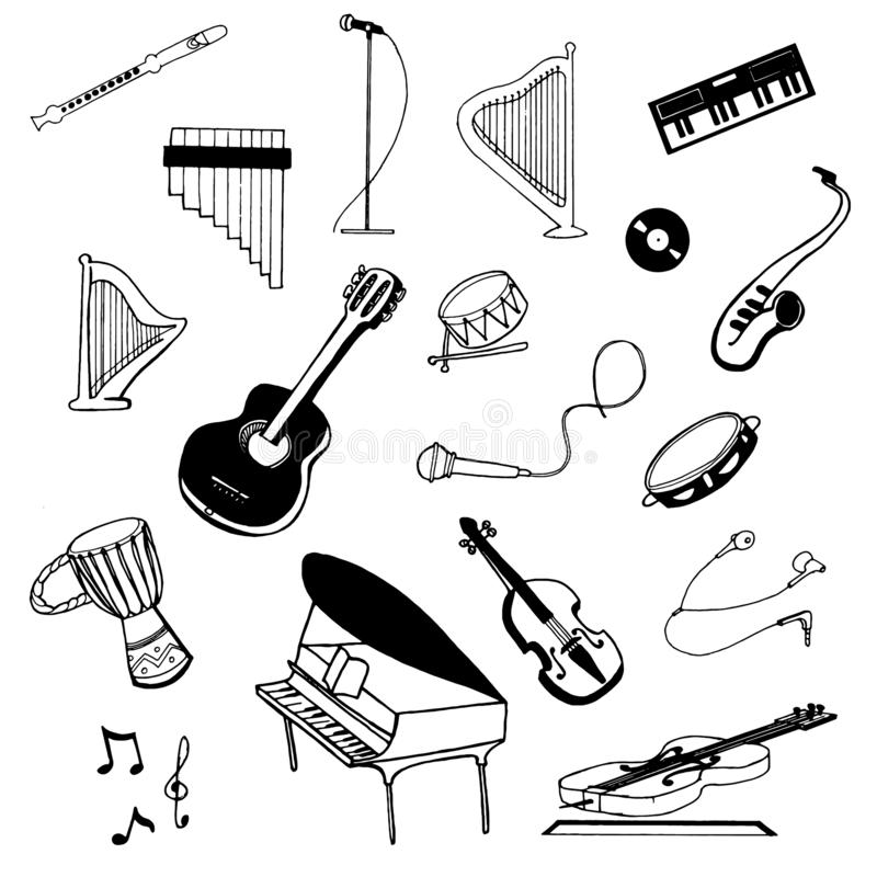 Croquis tiré par la main de vecteur d'illustration d'instruments de musique sur le fond blanc illustration stock
