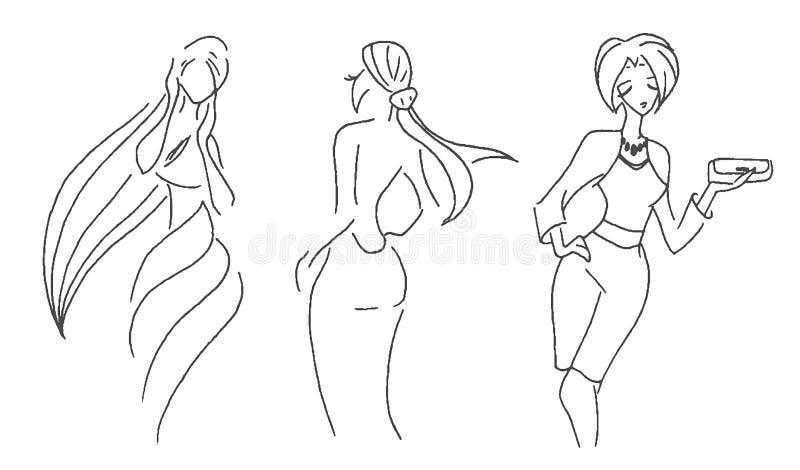 Croquis tiré par la main de vecteur d'illustration de mode de femme sur le fond blanc illustration libre de droits