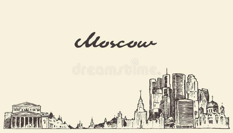 Croquis tiré par la main de vecteur de la Russie d'horizon de Moscou illustration de vecteur