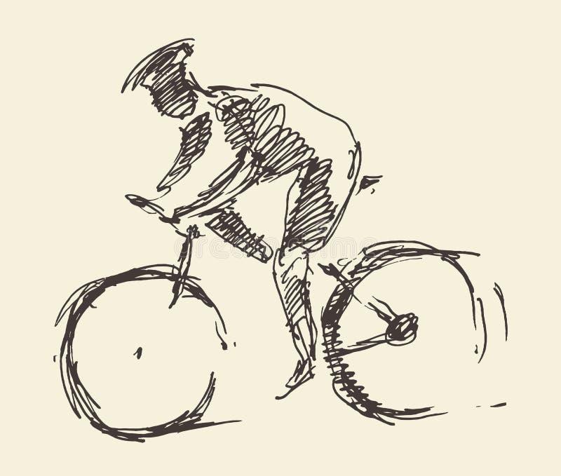 Croquis tiré par la main de vecteur de vélo d'homme de cavalier de cycliste illustration de vecteur