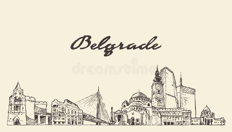 Croquis tiré par la main de vecteur de la Serbie d'horizon de Belgrade illustration stock