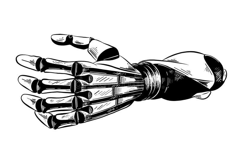 Croquis tiré par la main du bras robotique dans le noir d'isolement sur le fond blanc Dessin détaillé de style gravure à l'eau-fo illustration de vecteur