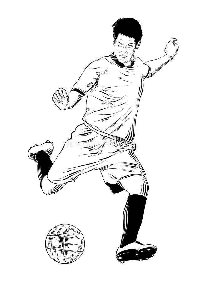 Croquis tiré par la main du footballeur dans le noir d'isolement sur le fond blanc Dessin détaillé de style gravure à l'eau-forte illustration libre de droits