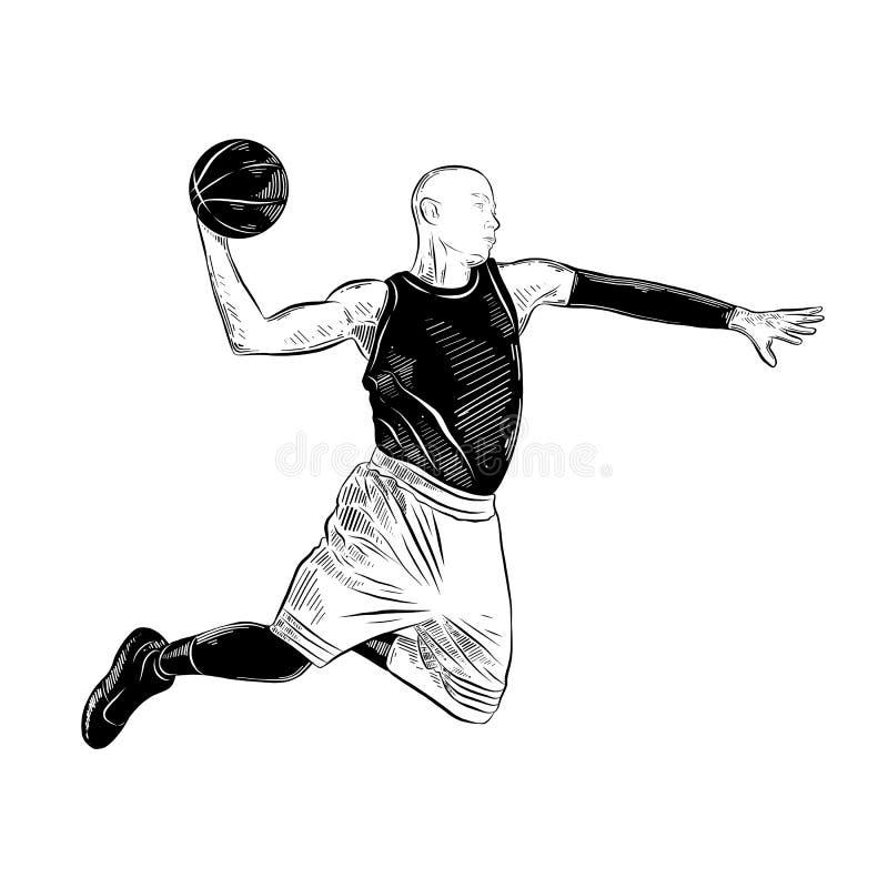 Croquis tiré par la main du joueur de basket dans le noir d'isolement sur le fond blanc Dessin détaillé de style gravure à l'eau- illustration de vecteur