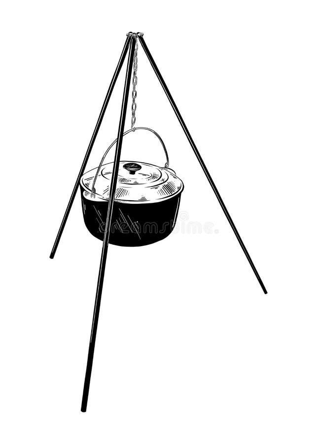 Croquis tiré par la main du kessel de camp dans noir d'isolement sur le fond blanc Dessin détaillé de style gravure à l'eau-forte illustration de vecteur