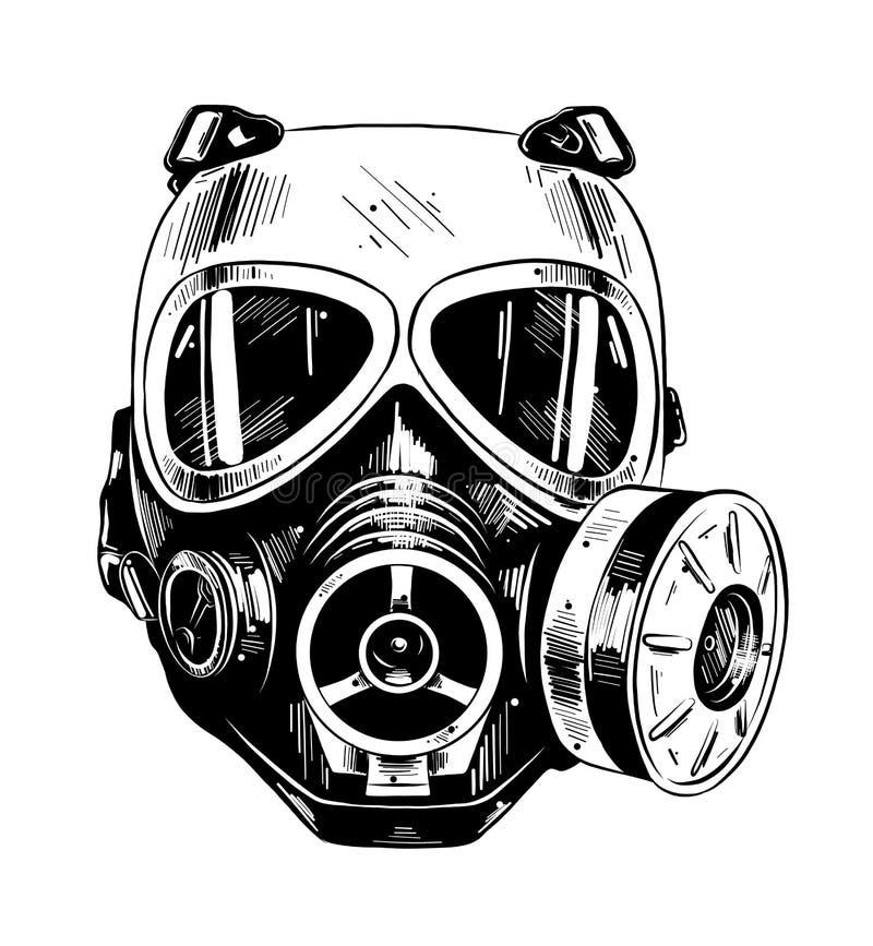 Croquis tiré par la main du masque de paintball dans noir d'isolement sur le fond blanc Dessin détaillé de style gravure à l'eau- illustration libre de droits