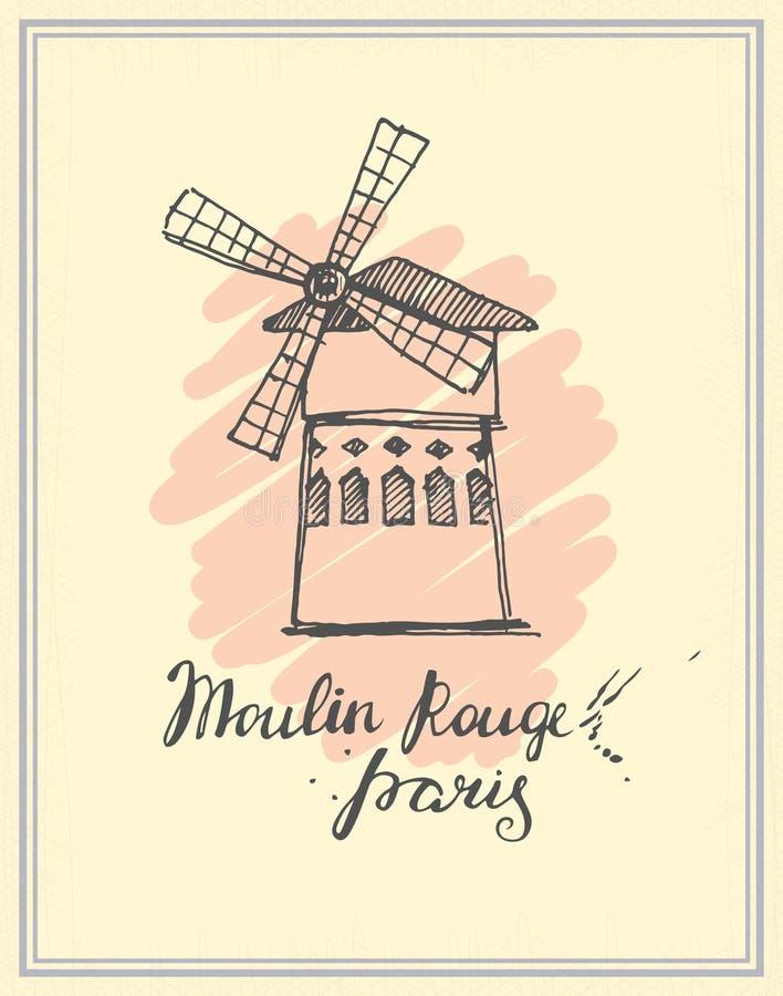 Croquis tiré par la main du Moulin rouge illustration de vecteur