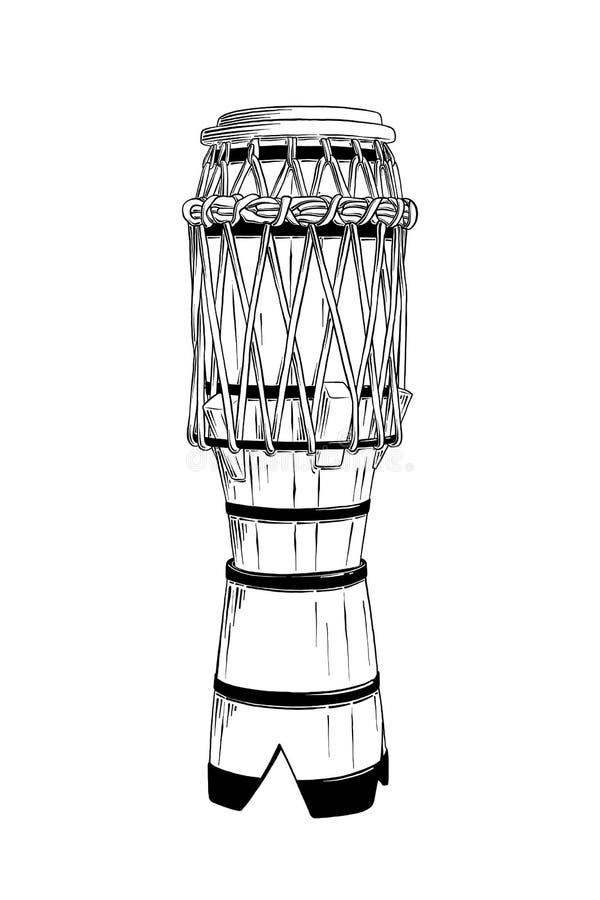 Croquis tiré par la main du tambour brésilien dans le noir d'isolement sur le fond blanc Dessin détaillé de style gravure à l'eau illustration libre de droits