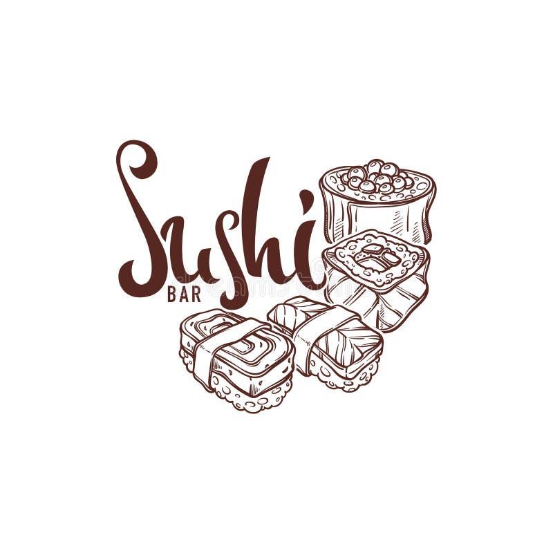 Croquis tirés par la main de sushi, pour votre restaurant japonais a de nourriture illustration de vecteur