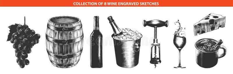 Croquis tirés par la main dedans de monochrome d'isolement sur le fond blanc Dessin détaillé de style de gravure sur bois en vint illustration stock