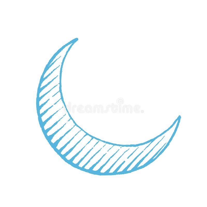 Croquis vectorisé bleu d'encre de Crescent Moon Illustration illustration libre de droits