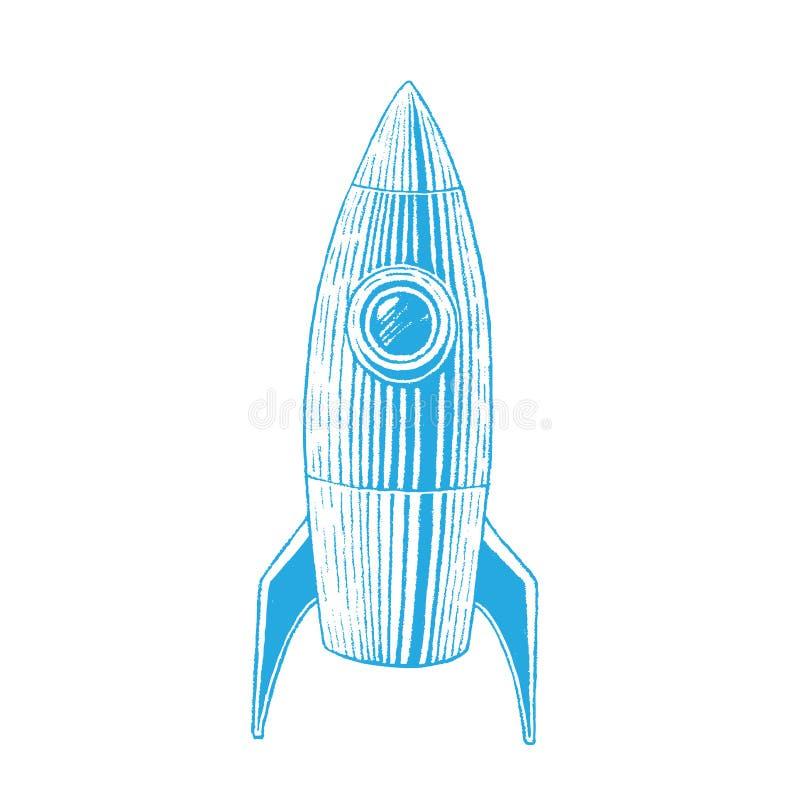 Croquis vectorisé bleu d'encre de Rocket Illustration illustration de vecteur