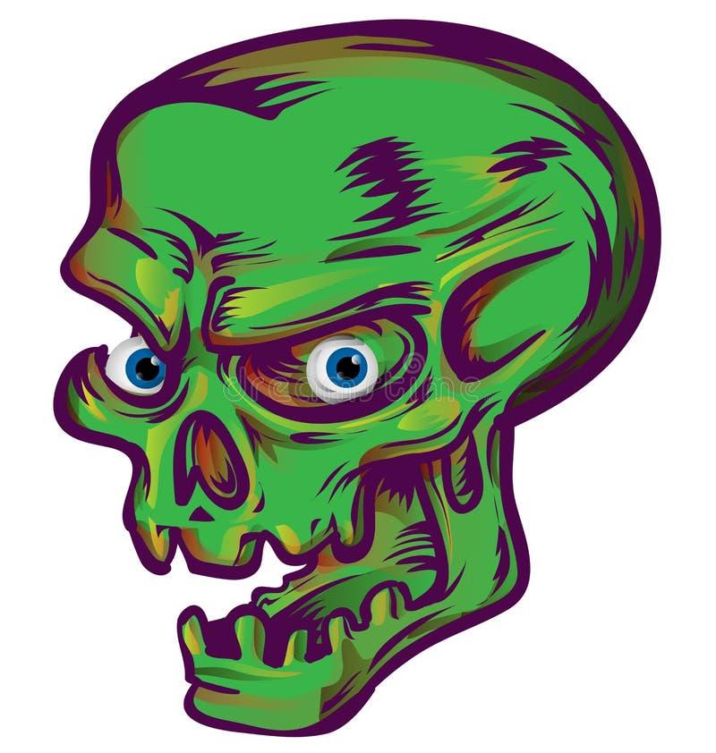 Croquis vert de crâne illustration de vecteur