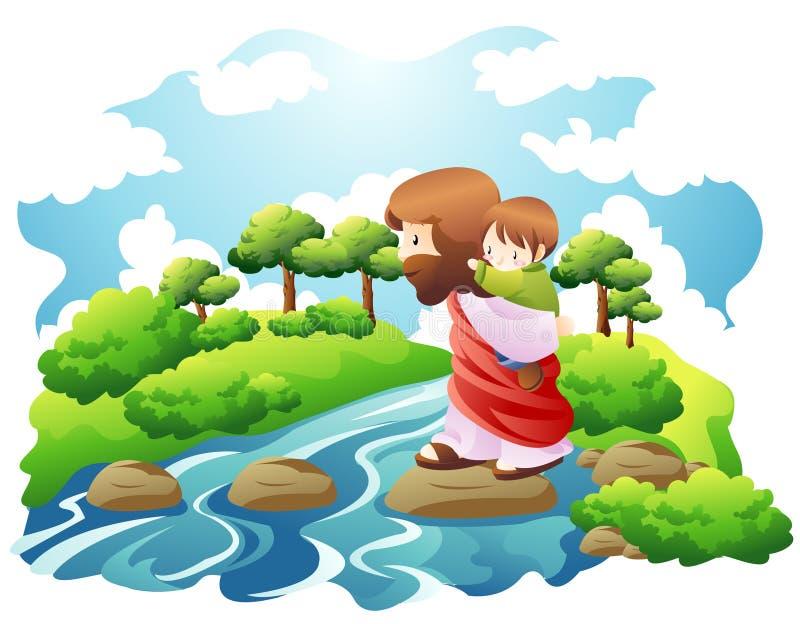 Crose um rio ilustração stock