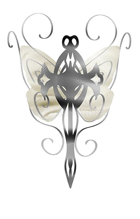 isolated Cross with stylized butterfly wings royalty free stock photography