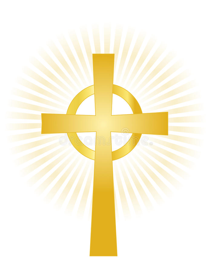 Cross. Illustration of a golden cross isolated on white background