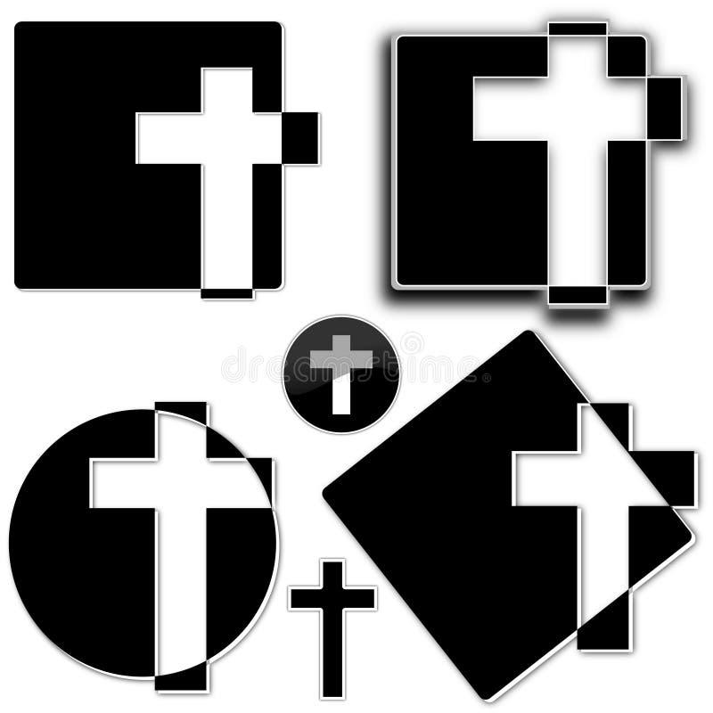 Cross. White cross on a black background as an illustration vector illustration