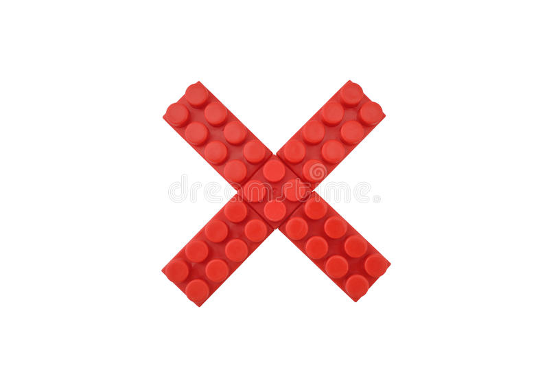Cross. Delete mark in red on isolated white background royalty free stock image