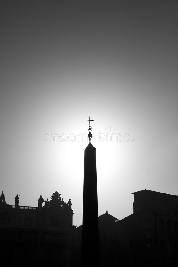 Cross. On stella in Vatican silhouette version royalty free stock photos