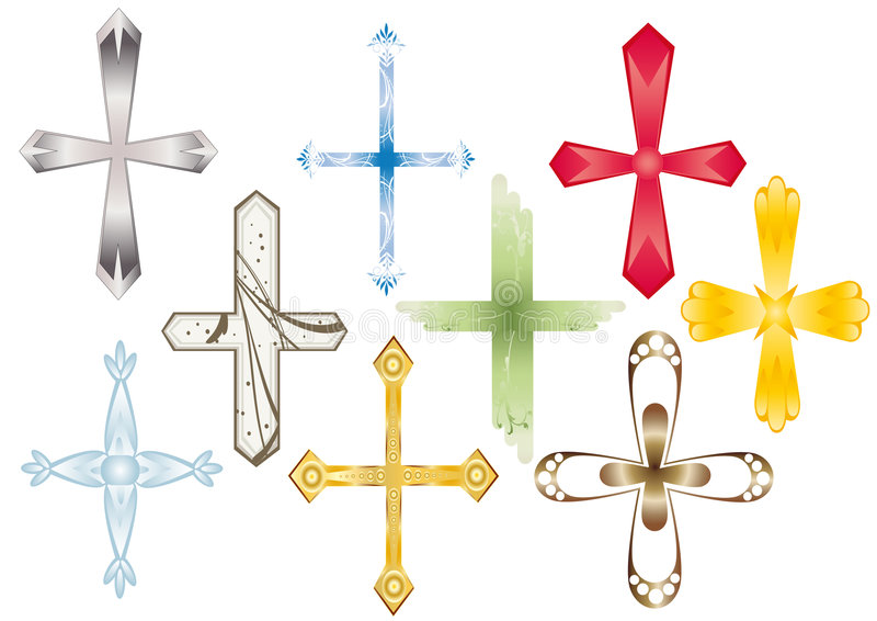 Cross. Recruitment of various type and color of the crosses. Vector vector illustration
