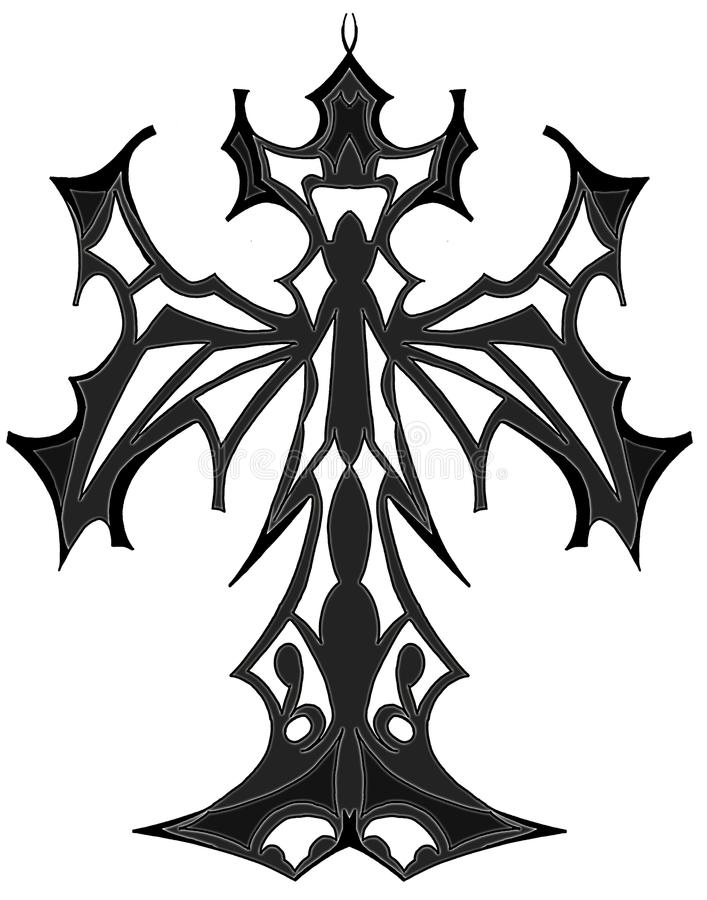 Download Artistic Gothic Isolated Cross In Grey Tones Stock Image - Illustration of decoration, elegance: 9982247