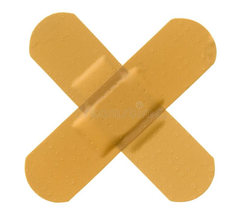 Cross adhesive bandage. Cross shape adhesive bandage isolated on white stock image