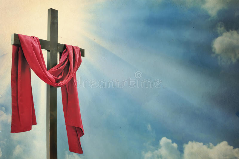Cross against the sky. In morning time royalty free stock photos