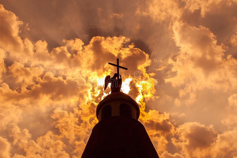 Cross against the sky. stock photography