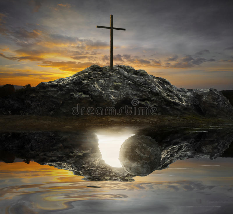 Free Cross And Empty Tomb Royalty Free Stock Image - 66738656
