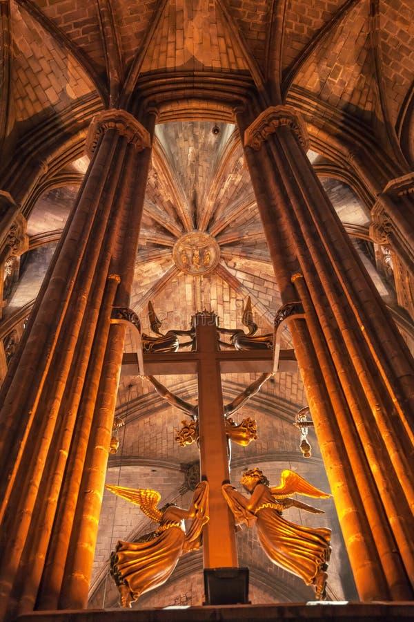 Free Cross Angels Stone Columns Gothic Catholic Barcelona Cathedral B Stock Photo - 30301510