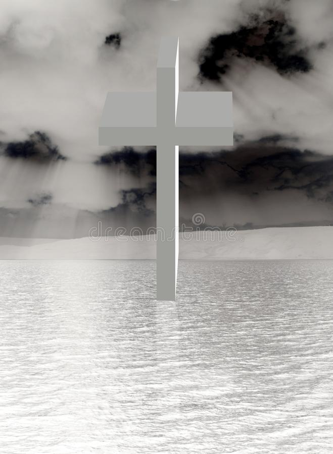 Cross Ascending over water royalty free stock image