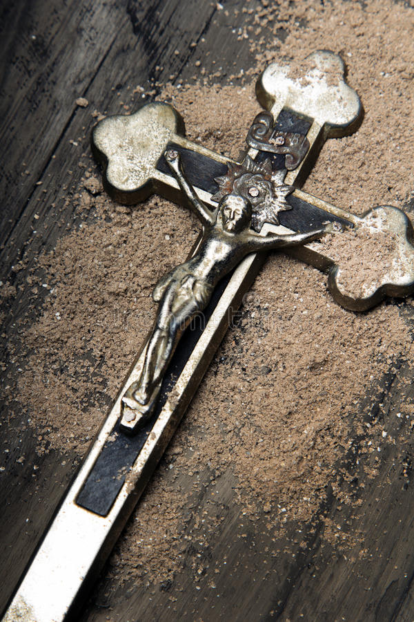 Cross and ash - symbols of Ash Wednesday.  royalty free stock photo