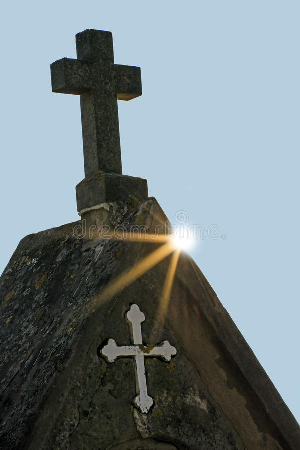 Cross in back light. At a pilgrim way royalty free stock photo