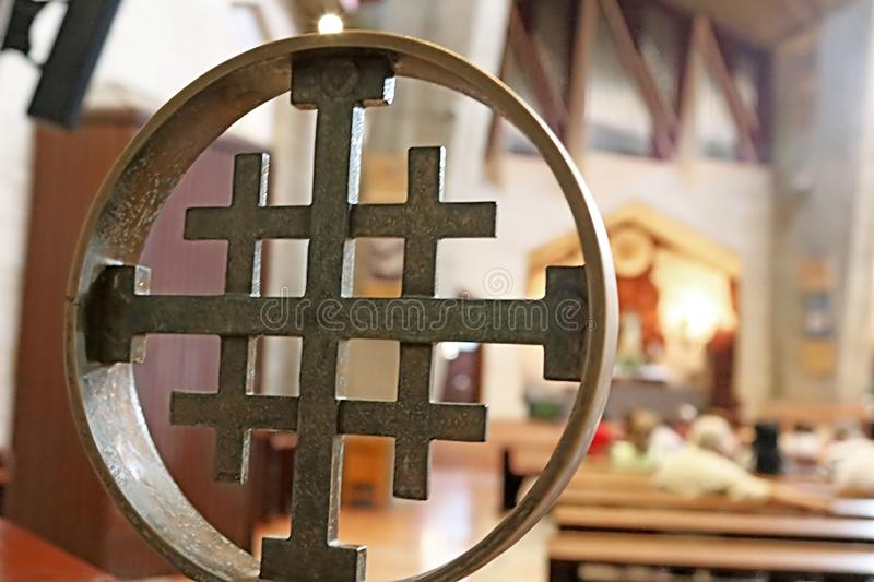 Cross in the Basilica of the Annunciation, Nazareth, Israel royalty free stock photography