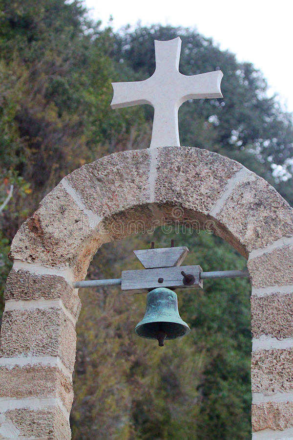 Cross and Bell Outdoors royalty free stock image